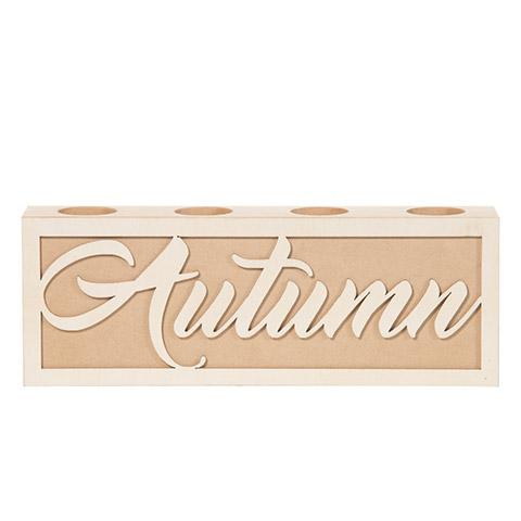 Autumn Tea Light Holder: MDF, 12.01 x 4.29 inches