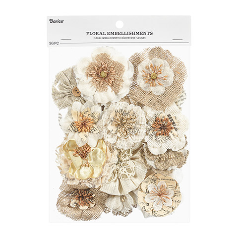 Natural Burlap/canvas Flowers- Floral Embellishment 36pc