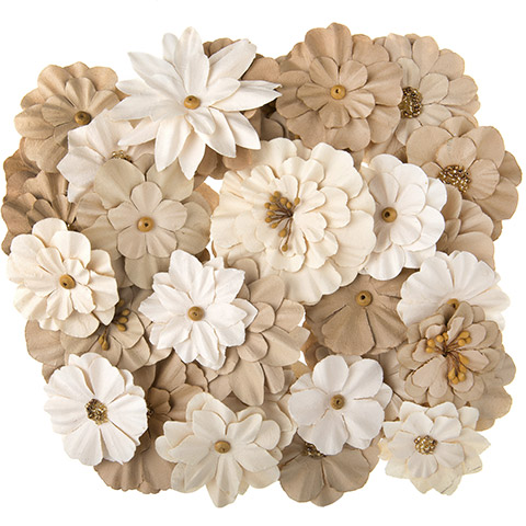 Natural Paper Flowers- Floral Embellishment 36pc