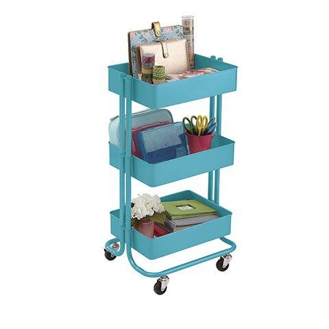 Darice 3 Tier Rolling Cart- Turquoise