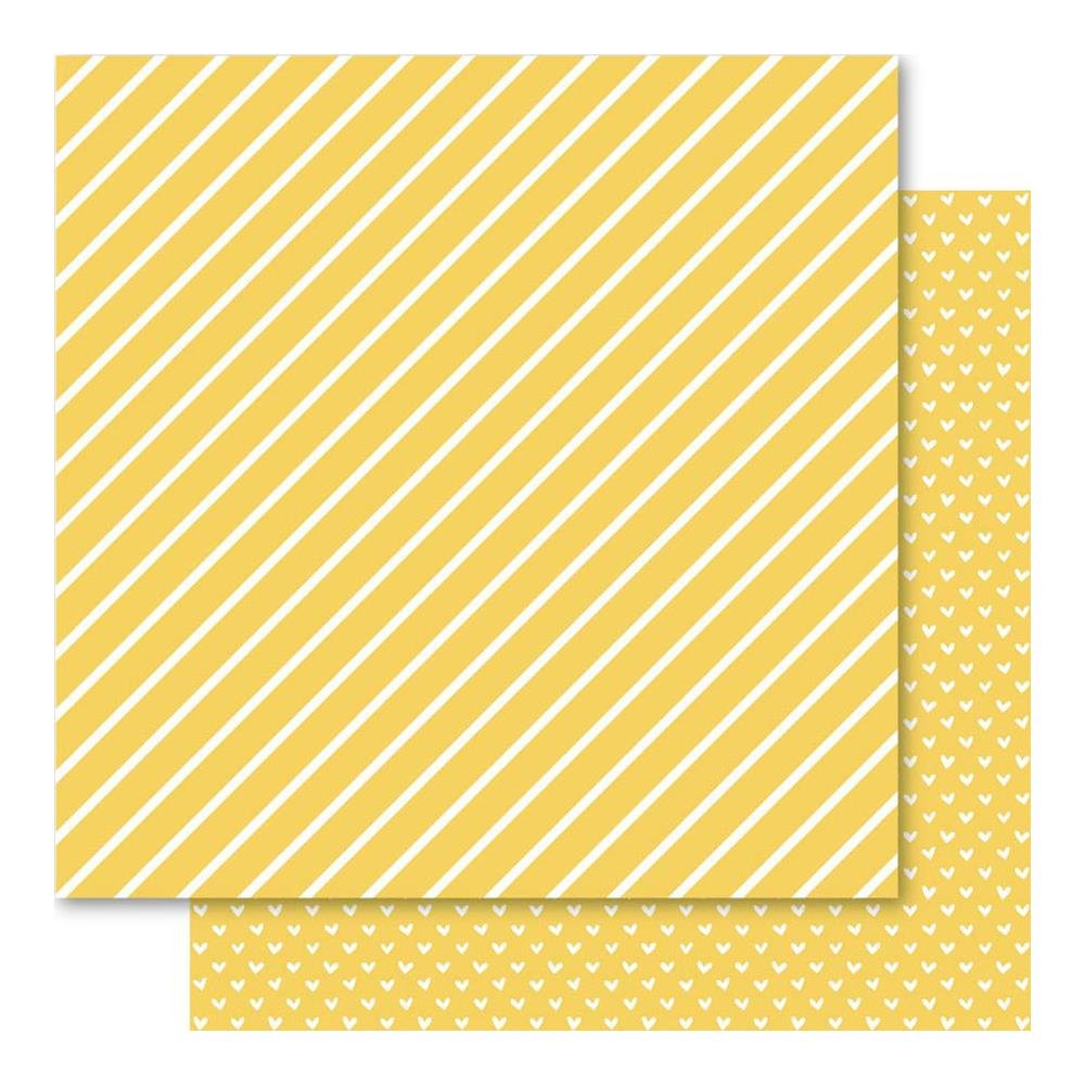 Bella Hearts & Stripes Foiled Cardstock 12X12- Gold