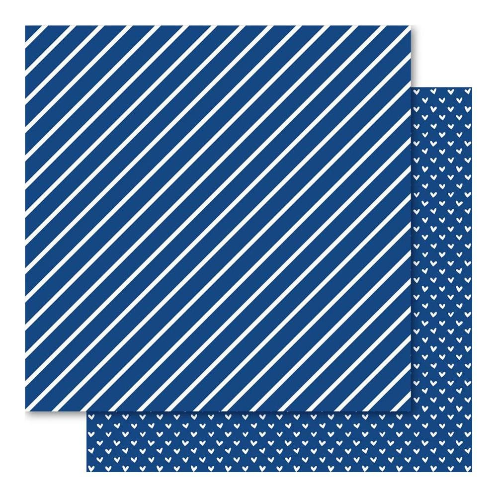Bella Hearts & Stripes Foiled Cardstock 12X12- Sapphire
