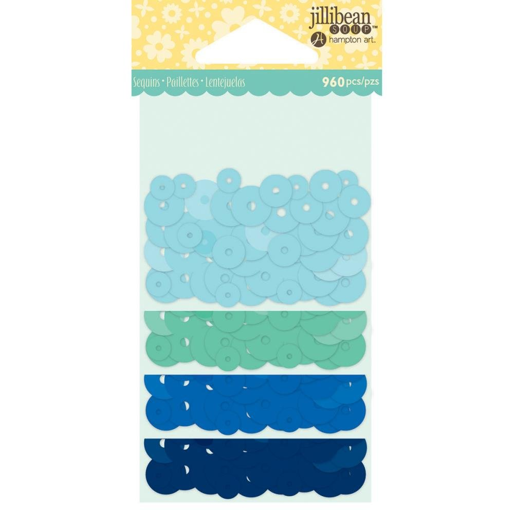 Jillibean Soup Shaker Card Sequin Pack- Blues