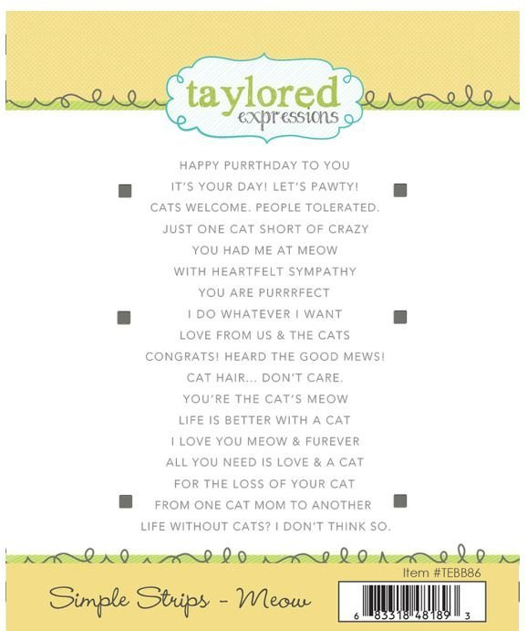Simple Strips - Meow  Stamp- Taylored Expressions