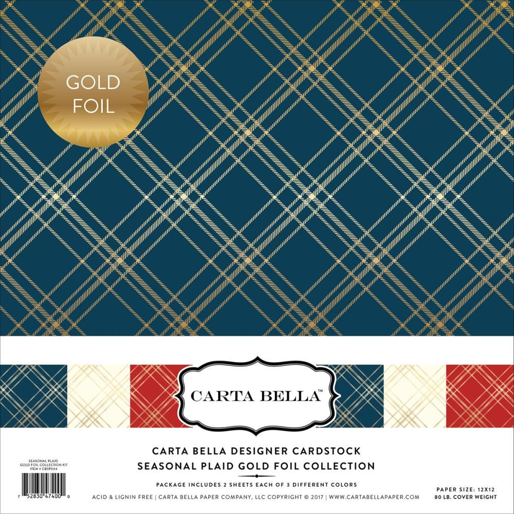 Carta Bella Designer Cardstockl Seasonal Plaid Gold Foil Collection