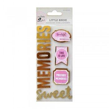 Foil & Glitter SWEET MEMORIES Embellishments Stickers - Little Birdie