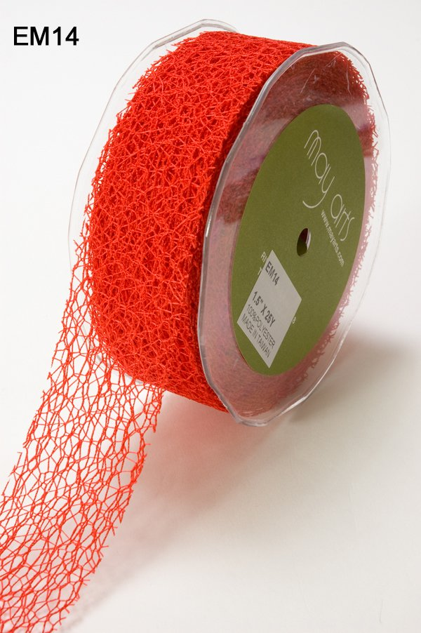 Red 1.5 Inch Net Web Ribbon with Cut Edge