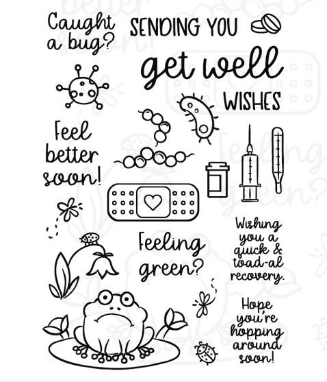 Inky Antics Rubber Stamp- Get Well