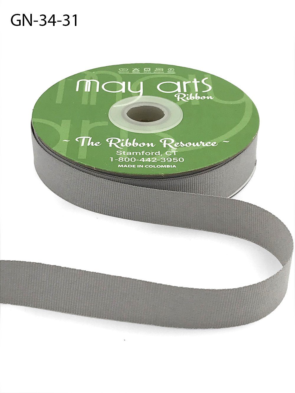 Silver 3/4 Inch Light-Weight Flat Grosgrain Ribbon with Woven Edge