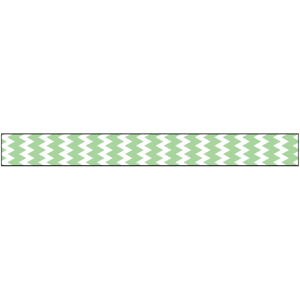 American Crafts Ribbon 3/8in X3yds- Glitter Green zig zag