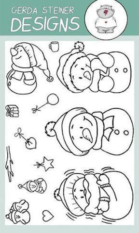 Snowman Friends- Gerda Steiner Designs 4X6 Clear Stamp Set