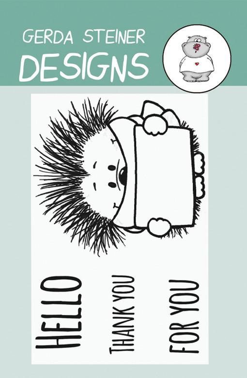 Hedgehog with Sign - Gerda Steiner Designs 2X3 Clear Stamp Set