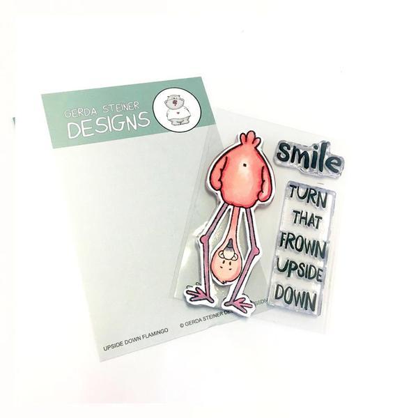 Upside Down Flamingo - Gerda Steiner Designs 3X4 Clear Stamp Set