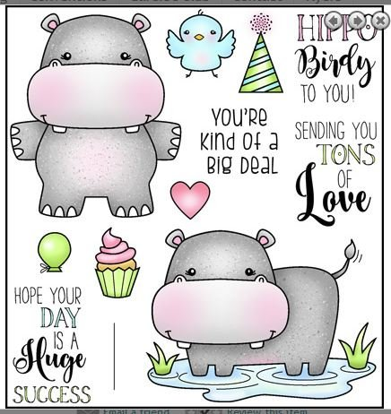 Darcie's heart & home Clear stamp- Hippo Birdie to You