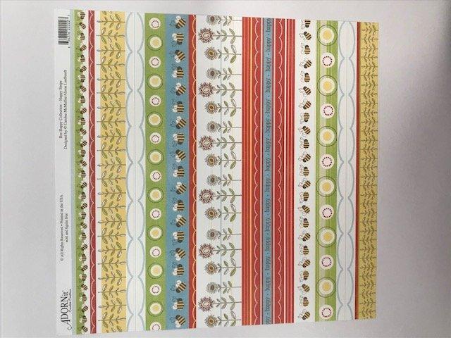 Happy Stripe- 12X12 Adornit Paper