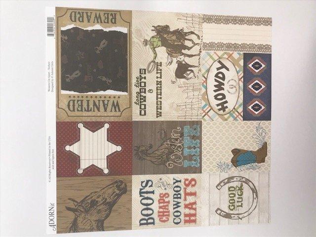 Yeehaw Western Cut Apart- 12X12 Adornit Paper