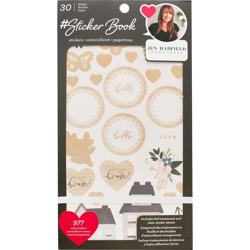 American Crafts Sticker Book 4.75X8 30/Pkg Jen Hadfield W/Gold Foil