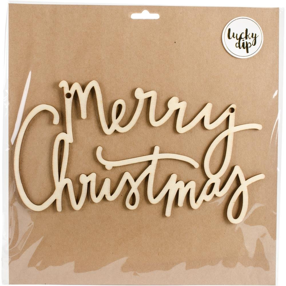 Kaiser Craft Lucky Dip Wood Flourish- Merry Christmas