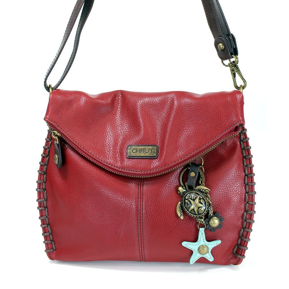 Metal Turtle Burgundy Charming Crossbody Chala Bag