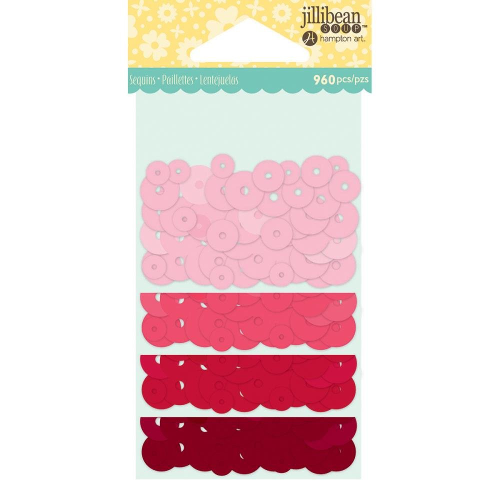 Jillibean Soup Shaker Card Sequin Pack- Red/pink