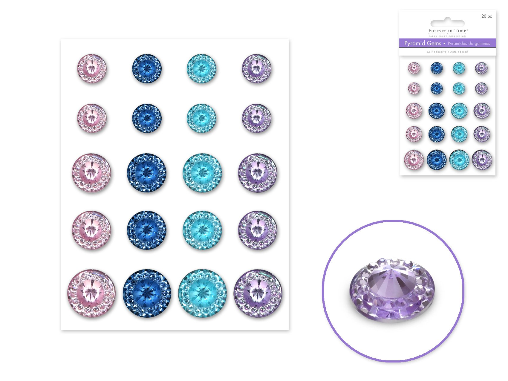 Round Pyramid Gems- Pastel