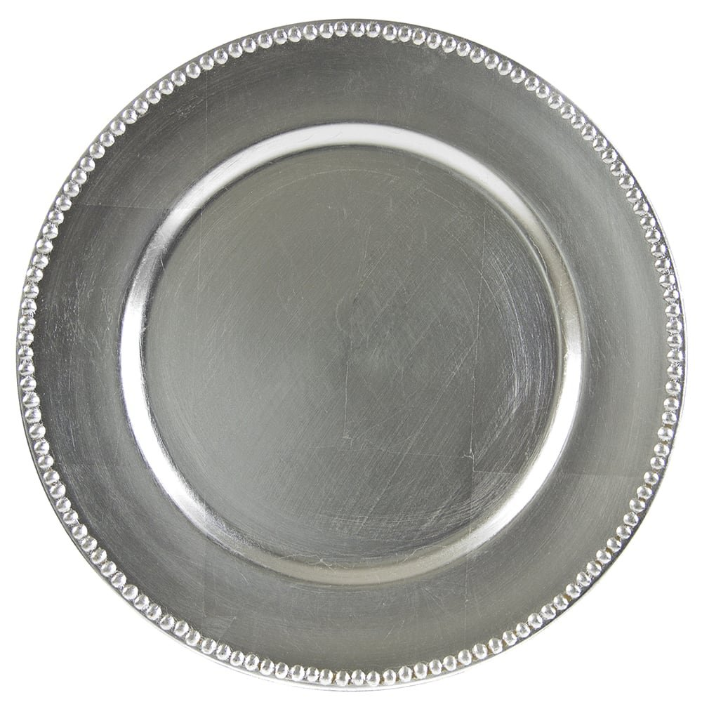 Silver Round Plastic Beaded Charger Plate - 13