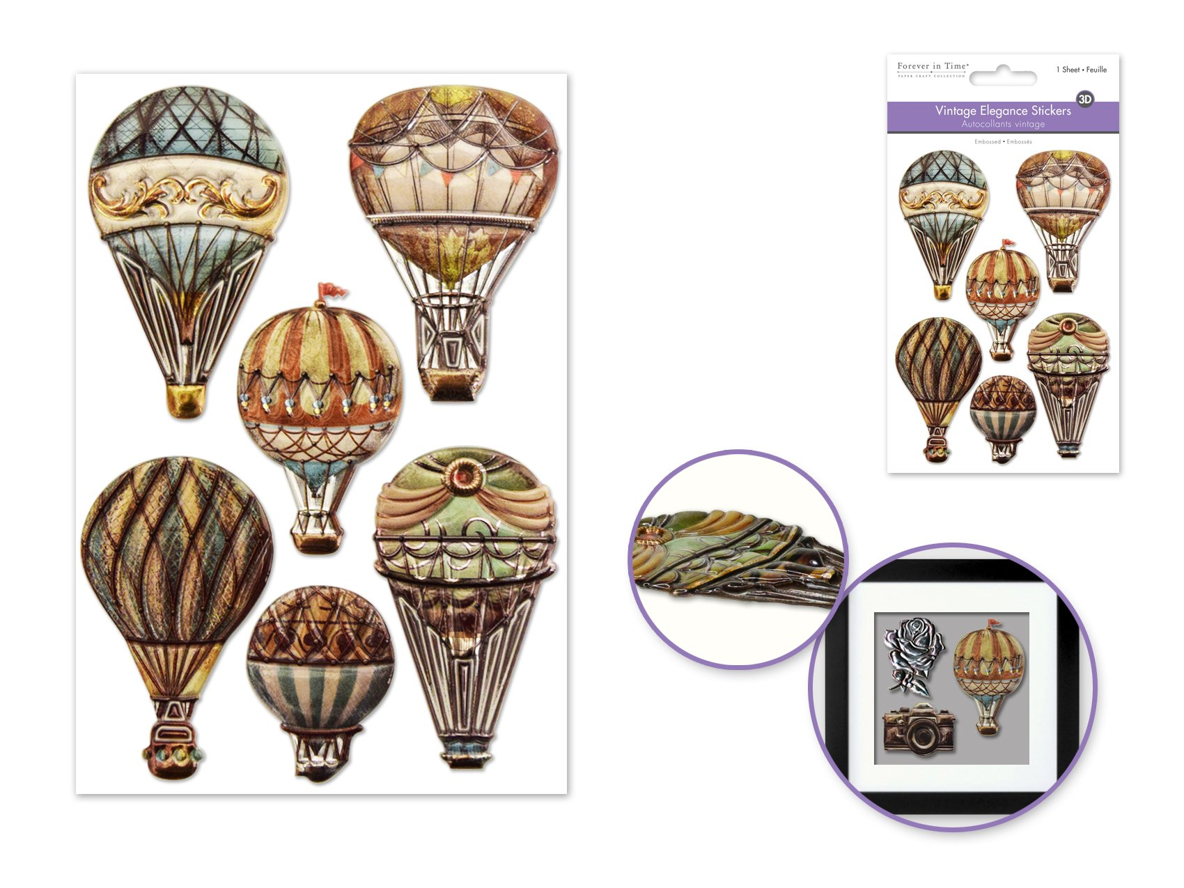 Vintage Elegance Stickers- Hot Air Balloons