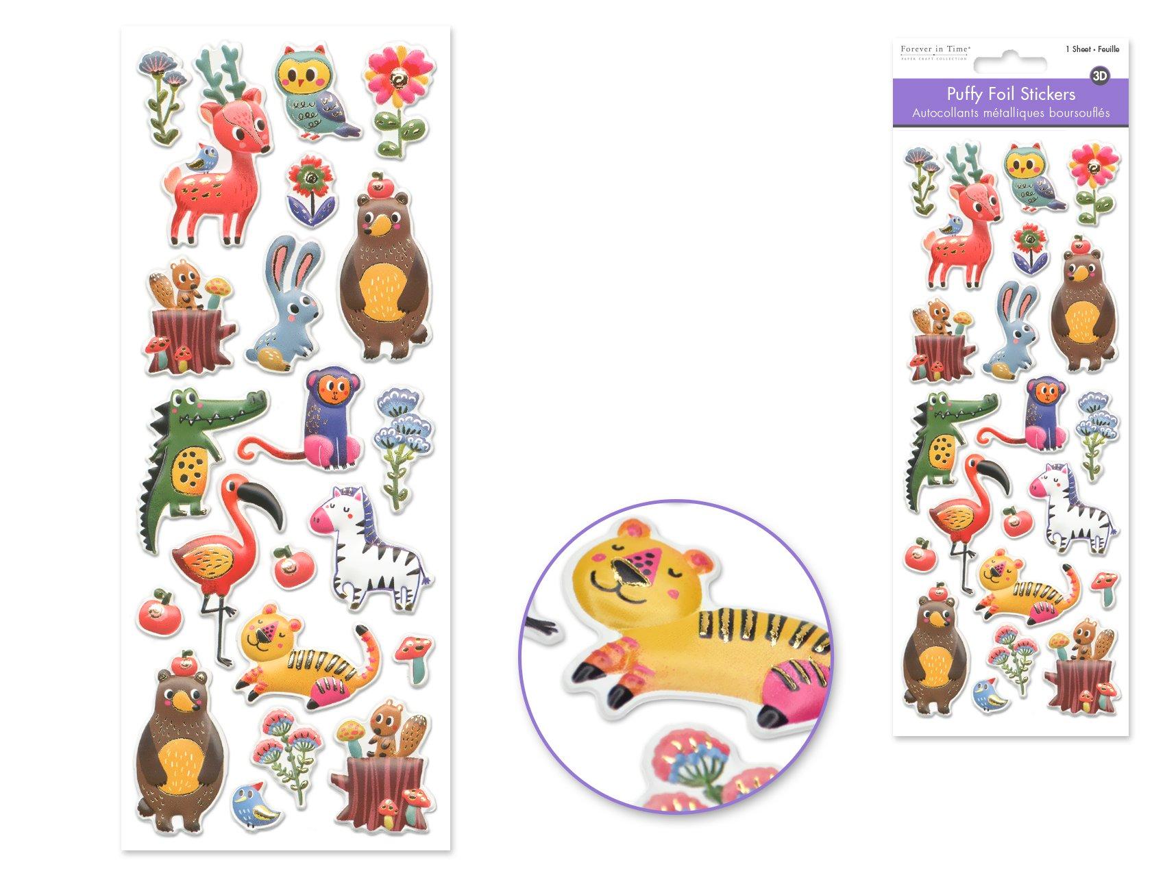 Puffy Foil Stickers-Wild ANimals