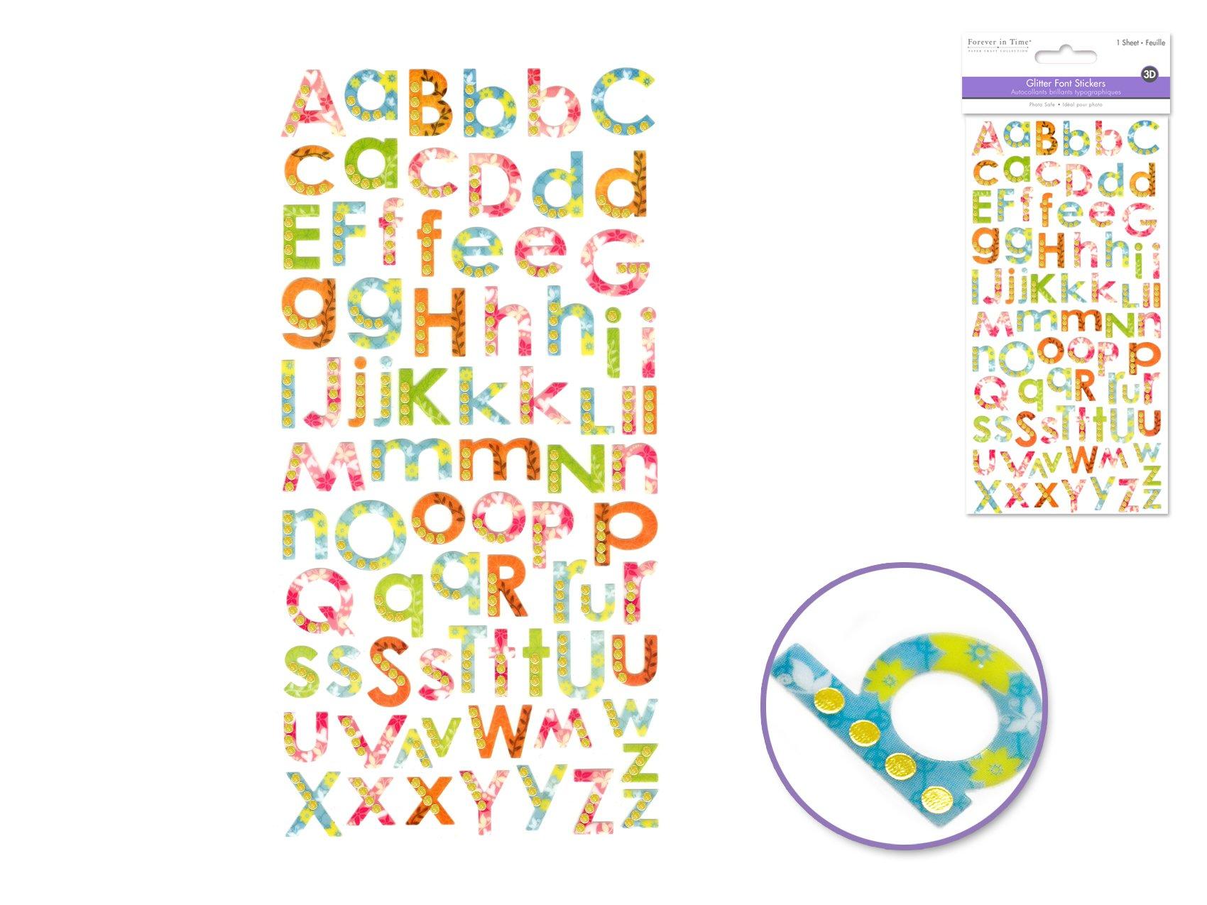 Paper Craft Stickers: 4x8 Glitter Alphabet I) Tropical