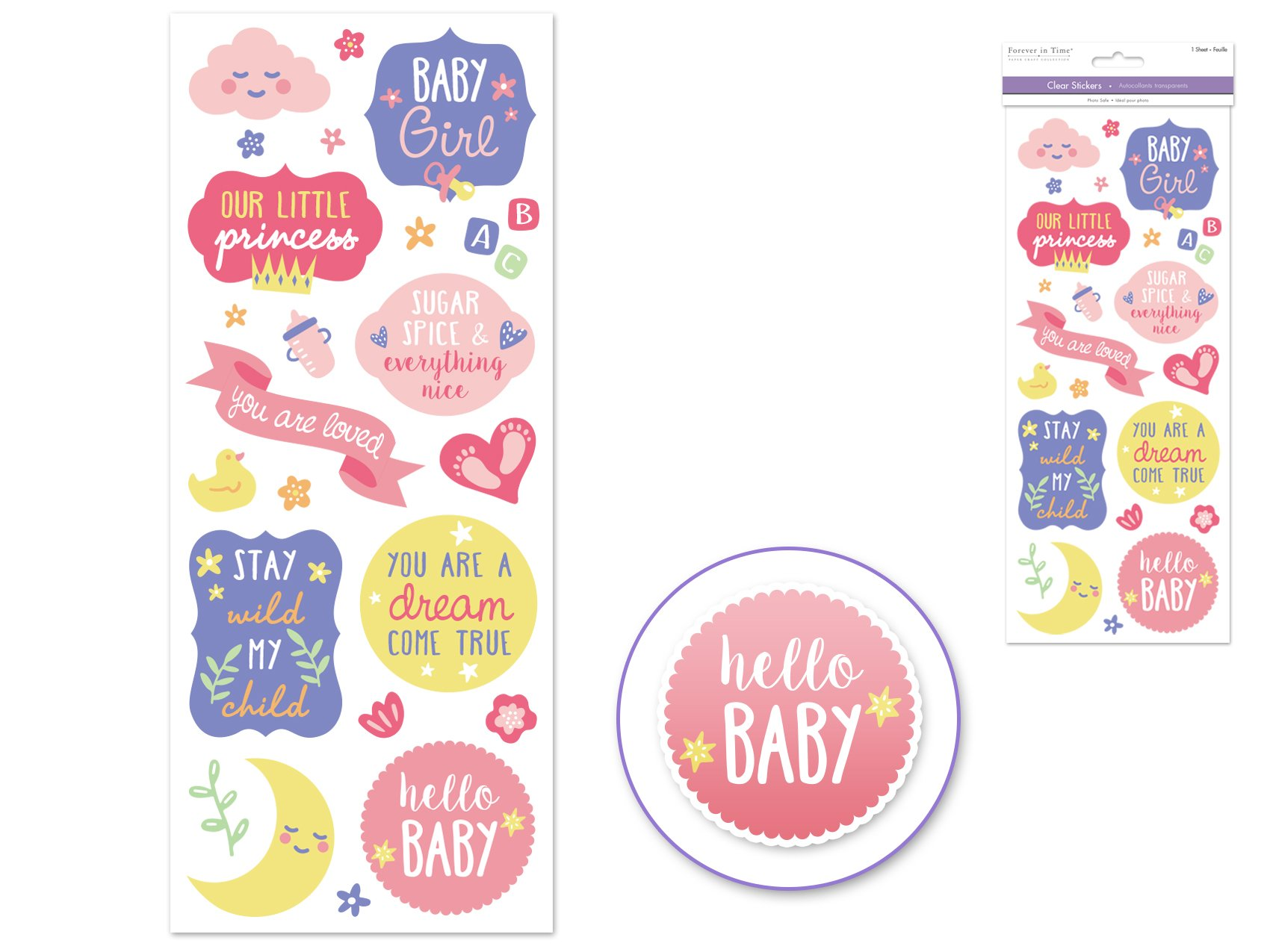Clear Stickers- Baby Girl
