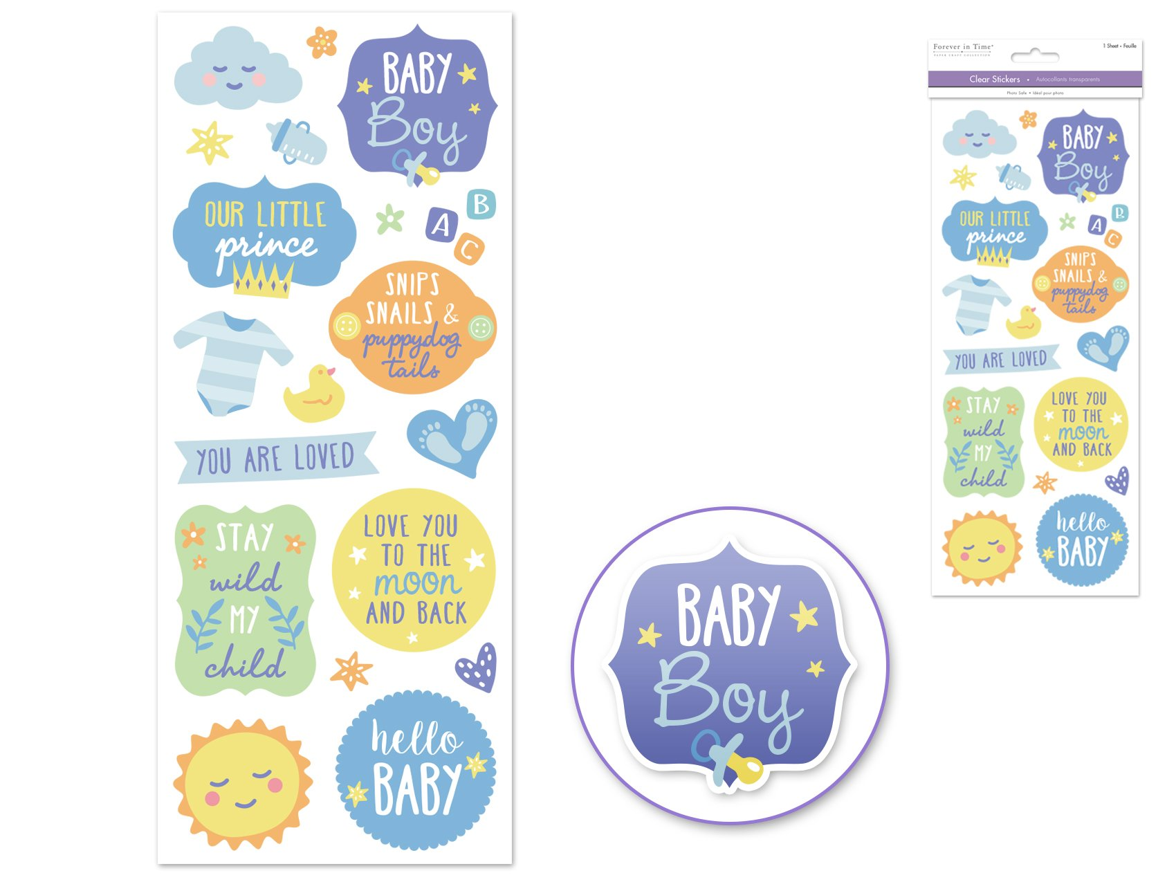 Clear Stickers- Baby Boy