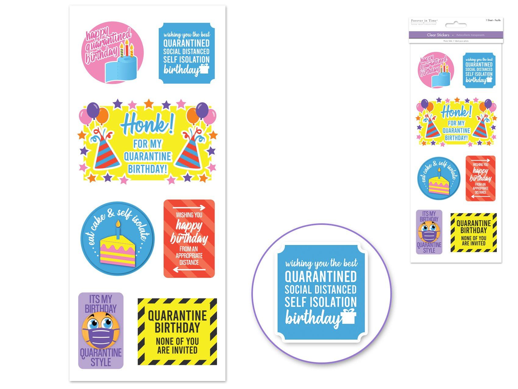 Clear Stickers- Quarantine Birthday
