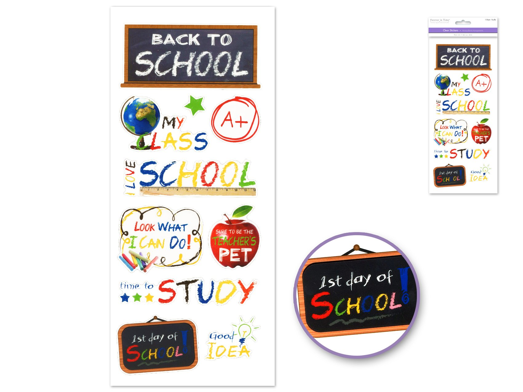 Clear Stickers- Back To School