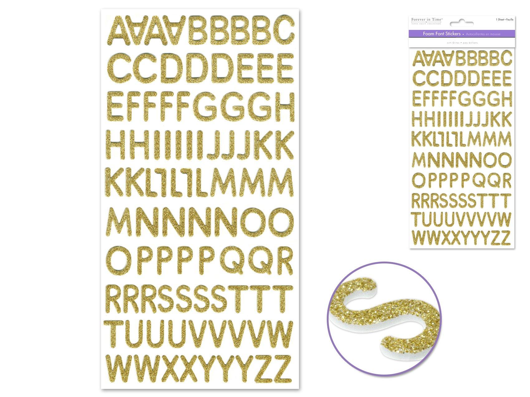 Foam Alphabet Sticker Gold Glitter