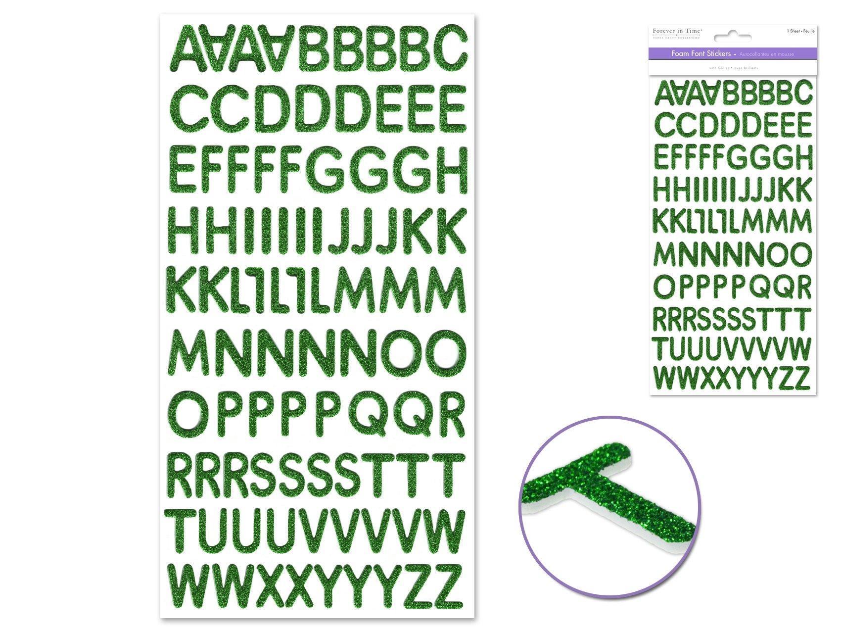 Foam Alphabet Sticker Green Glitter