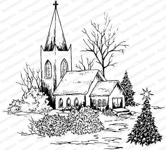 Christmas Chapel stamp - Impression Obsession
