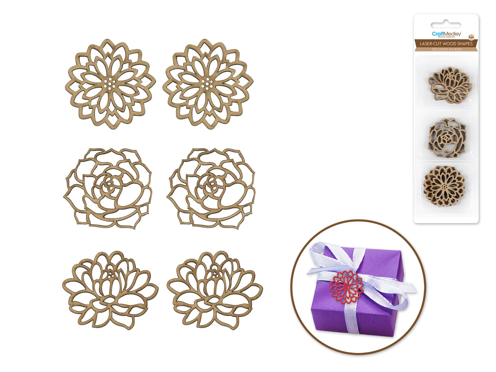 Floral- Laser Cut Wood Shapes
