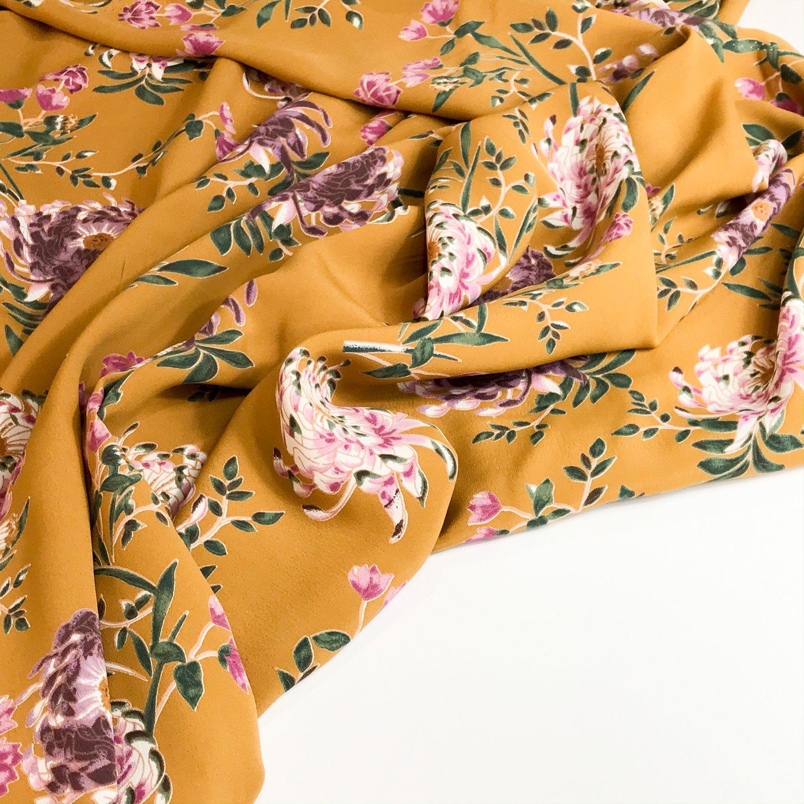 Rayon Crepe - Mustard w/Purple Flowers