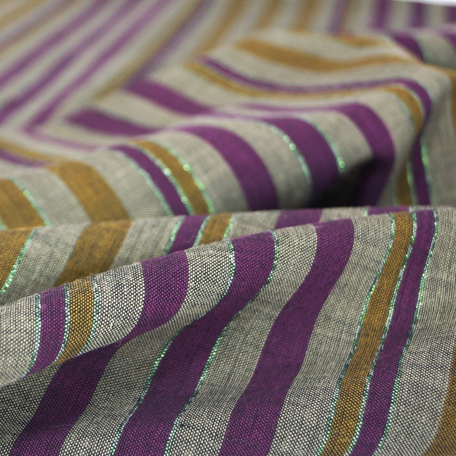 Wool - Charcoal with Plum, Goldenrod, and Green Lurex Stripes