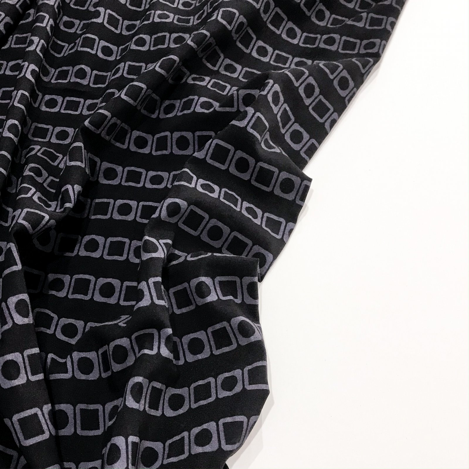 Designer Stretch Cotton Woven - Black and Heather