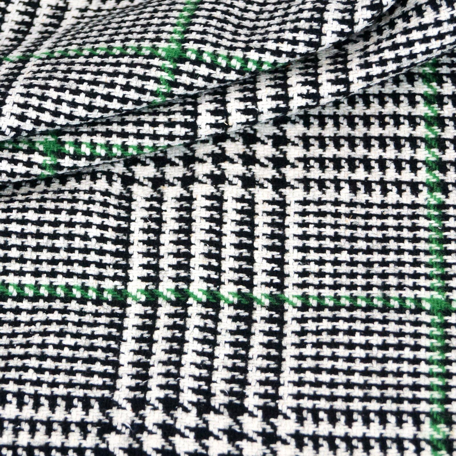 Wool - Black & Cream with Kelly Green Stripes