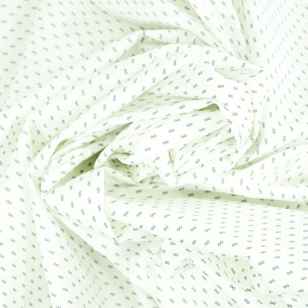 Cotton - Petite Foulard in White with French Blue Diamonds