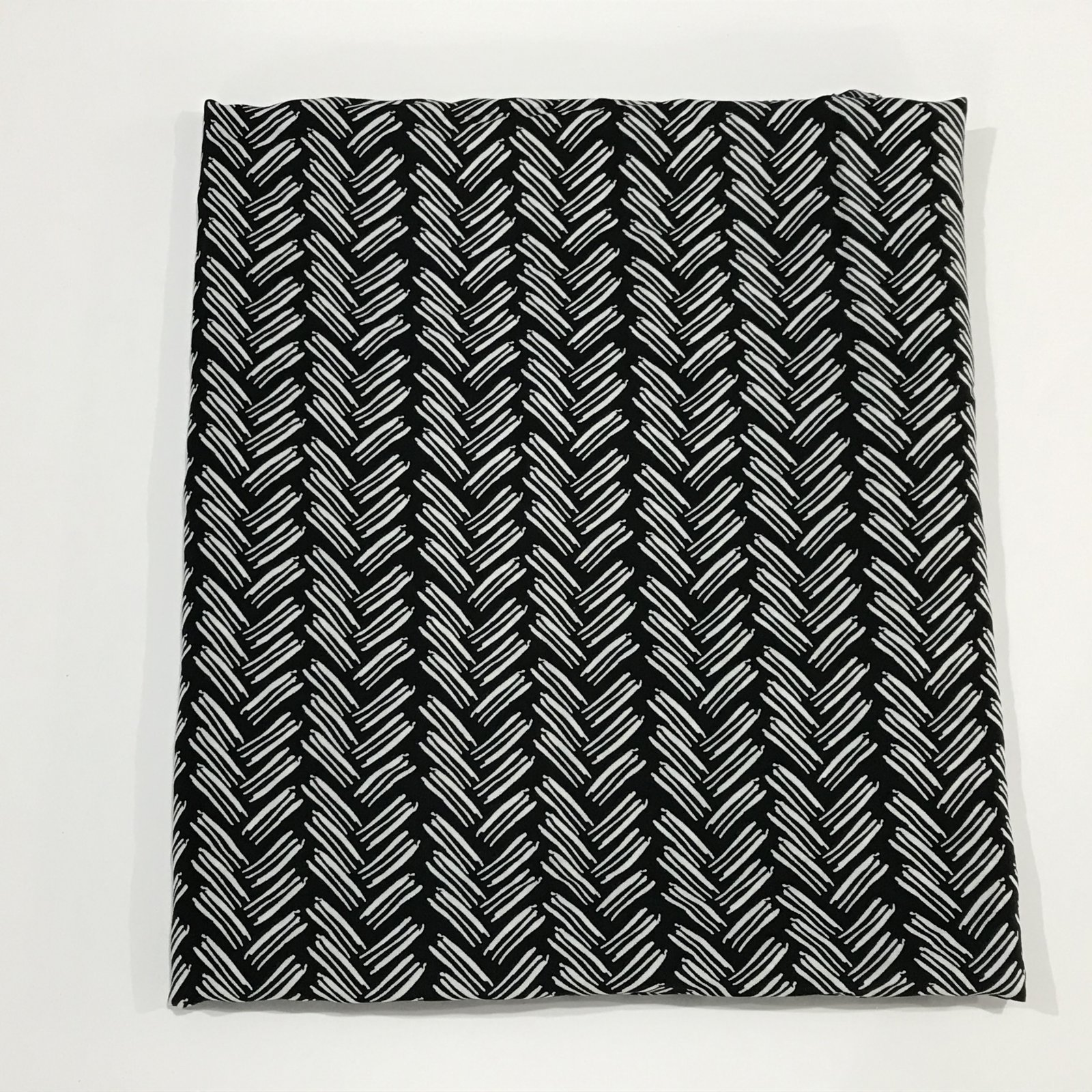 Rayon - Black and Ecru Lines - 1 1/8 yard