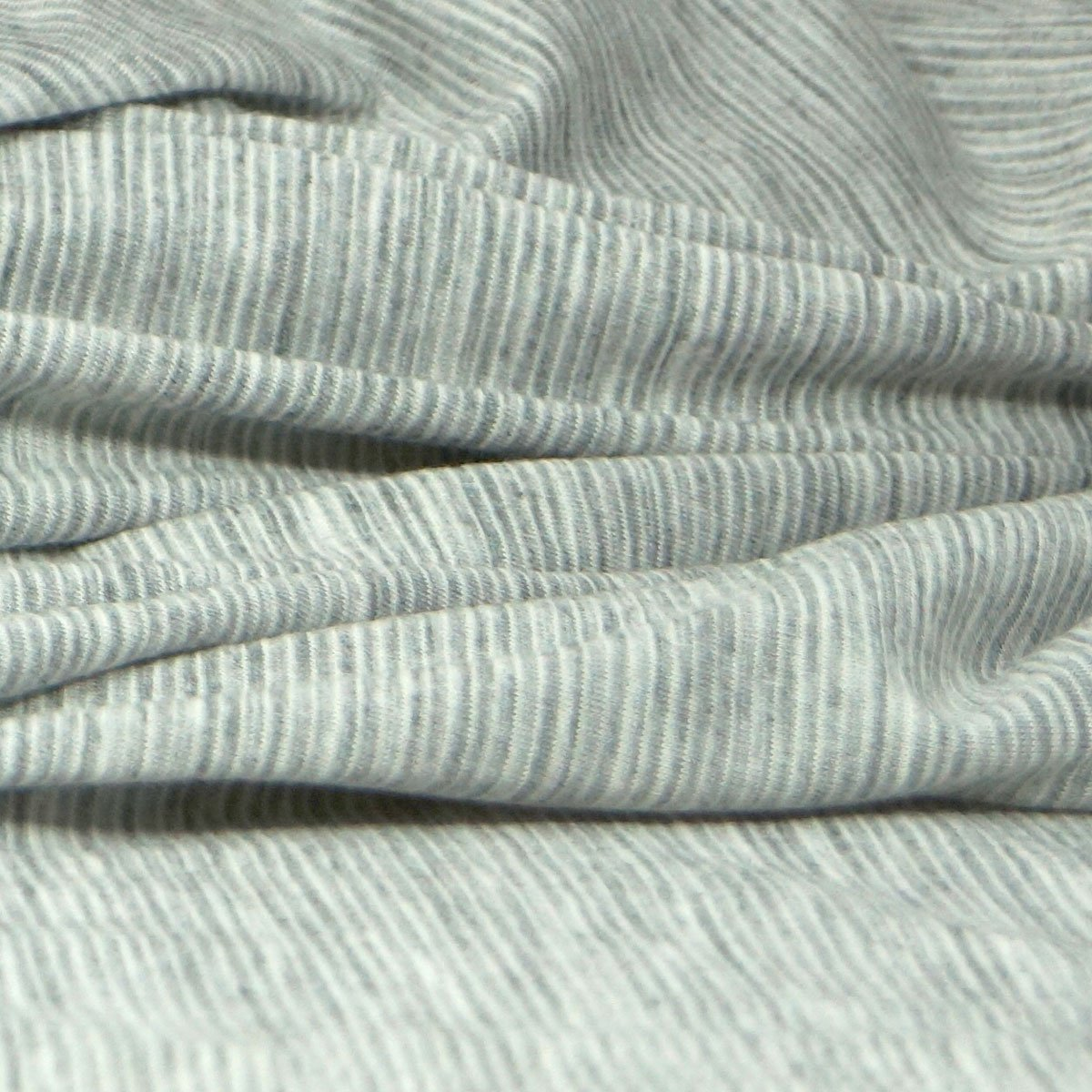 Merino Wool Jersey - Gray & Cream Mini Stripe