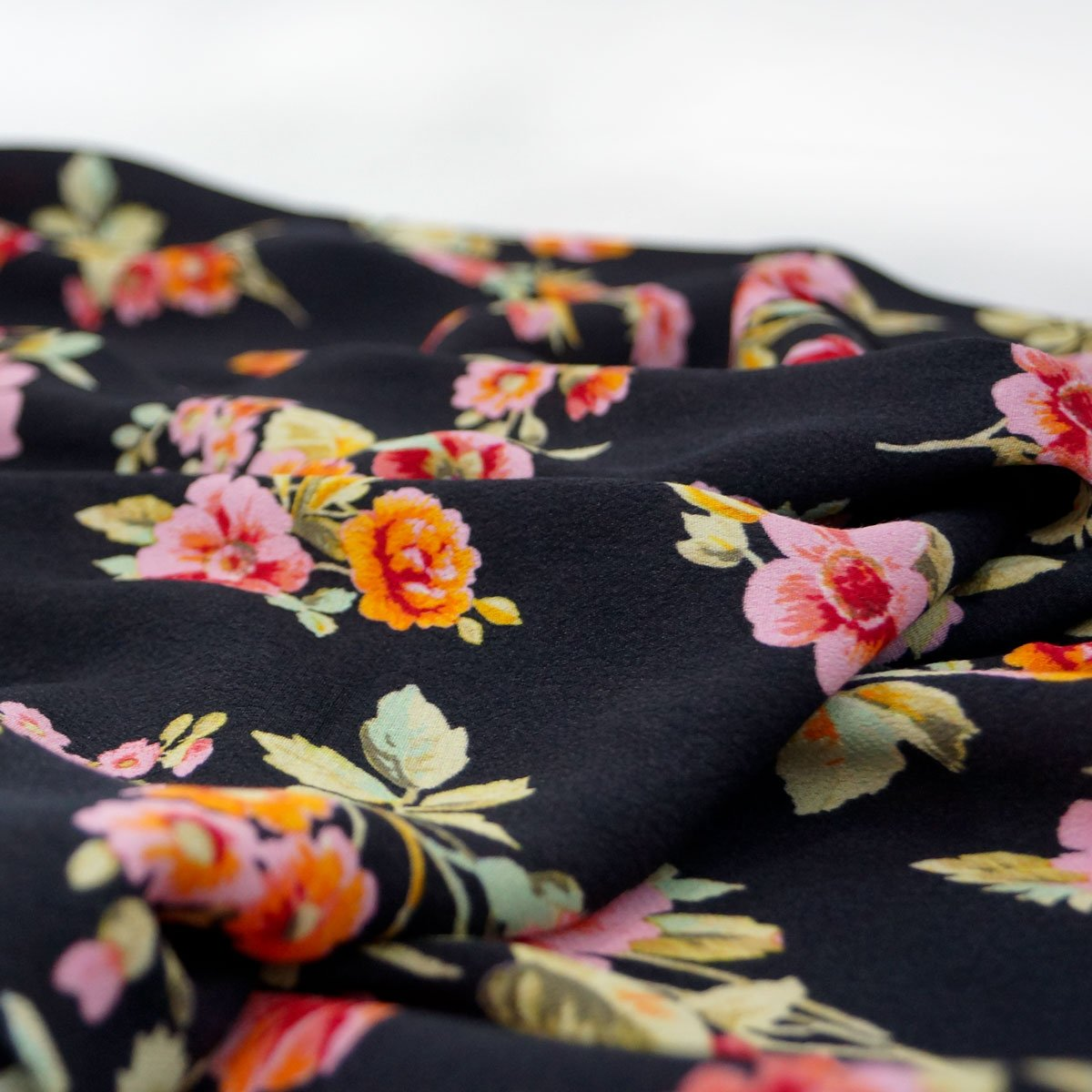 Rayon - Black with Pink and Orange Flowers