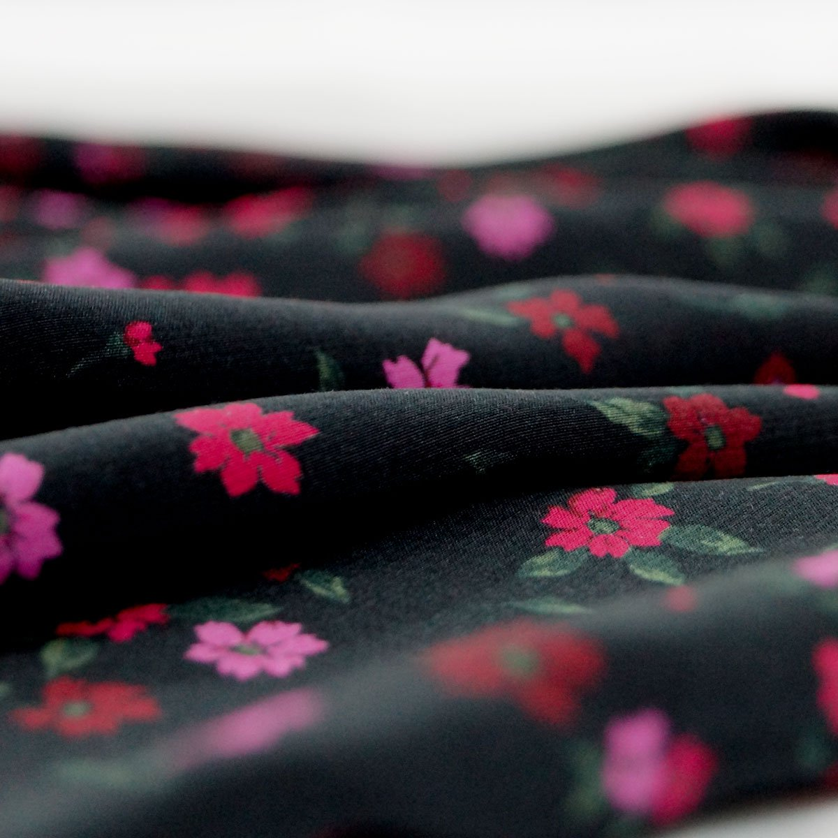 Rayon - Black with Small Red & Pink Flowers