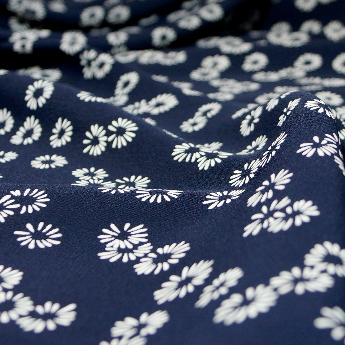 Rayon - Navy with Ivory Flowers