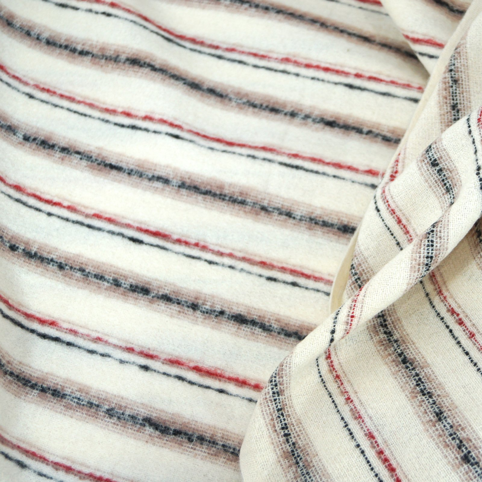 Wool - Cream with Black, Taupe, & Crimson Stripe