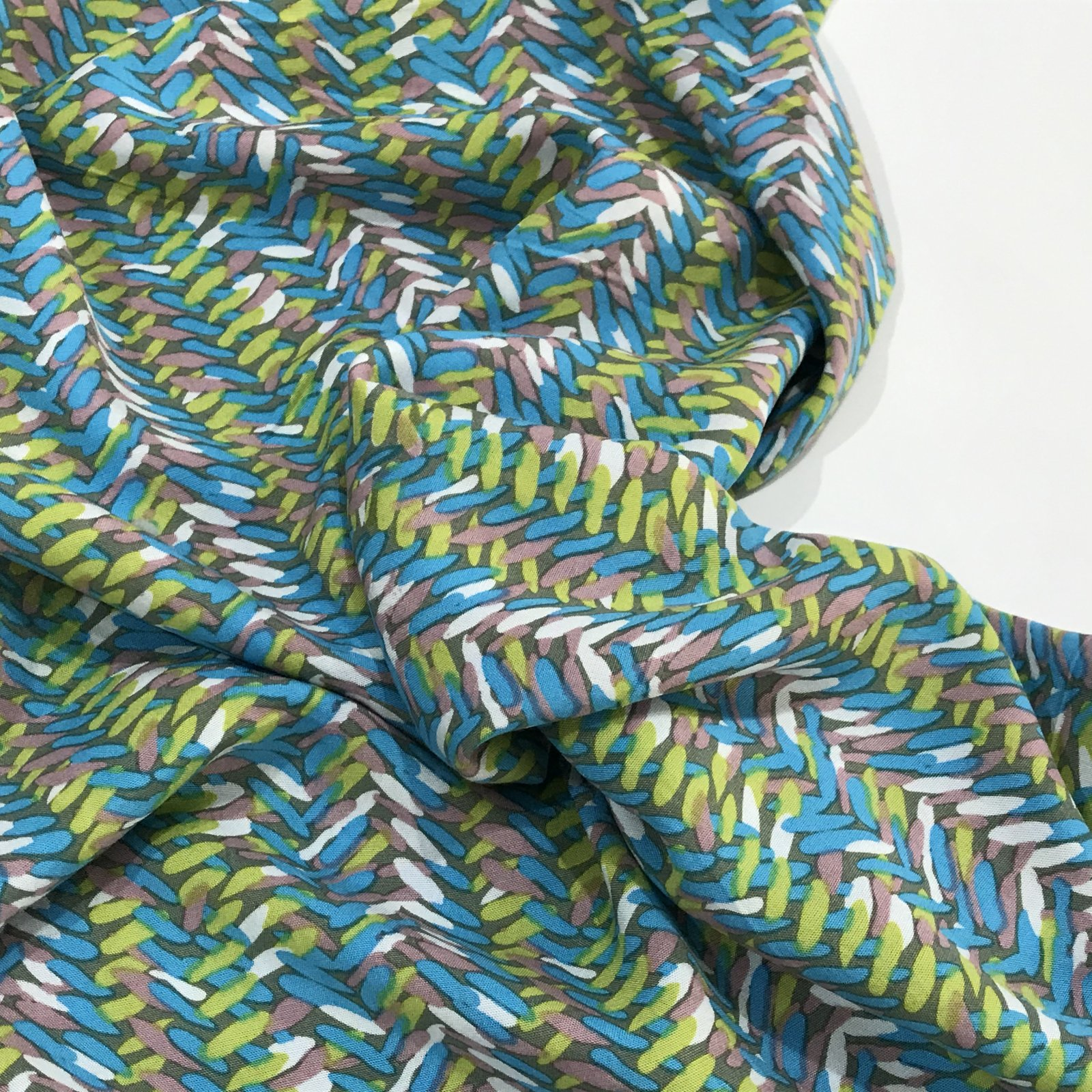 Bali Rayon Print - Crosshatch in Turquoise and Lime