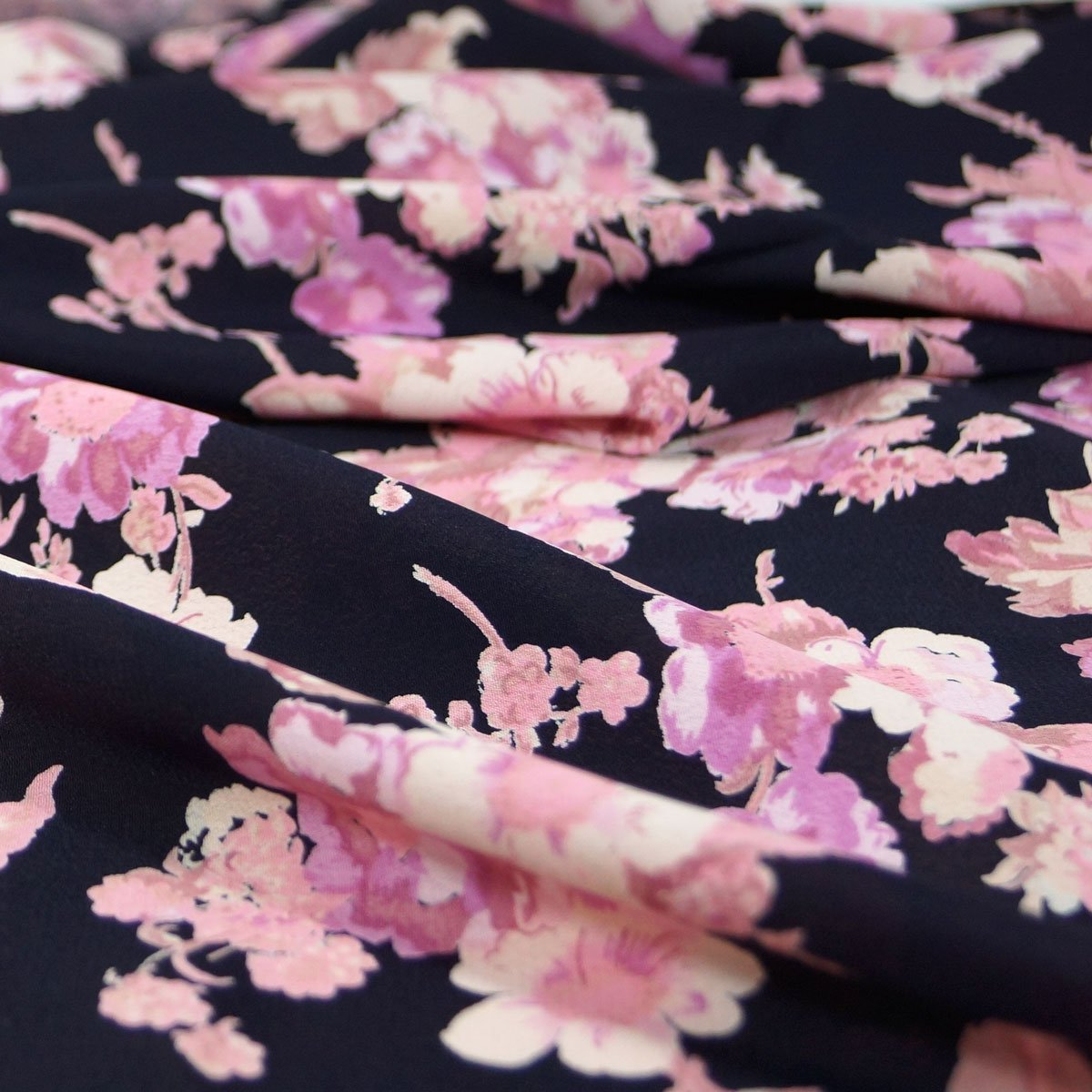 Rayon - Black with Large Pink Flowers